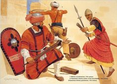 Later Fatimid Armies (XI century): 1: Marine crossbowman; 2: Palestinian infantry archer of the local Ahdath; 3: Fatimid infantry guardsman