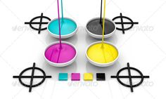 CMYK liquid inks and target