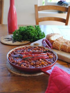 Homemade baked beans with roasted chillies