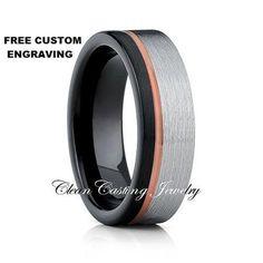 Black Tungsten Ring,Tungsten Carbide Ring,Offset Groove,Rose Gold Tungsten…