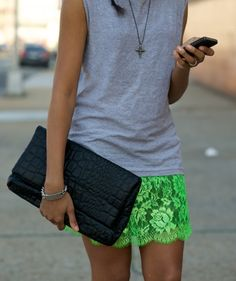 This isn't my style at all but I wish it was. I love this skirt...and with the casual t-shirt. Love.