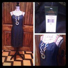 ✂️RL-Denim & Leather Sundress! Denim sundress and leather straps! Two draft slits on the skirt and a side zipper! So classy! Ralph Lauren Dresses