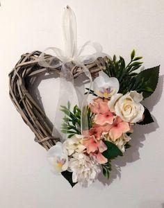 Floral heart wreath- flowers - wicker - hanging ornament - door wreath - artificial flowers - home decor - grey decor Artificial Flower Arrangements, Artificial Flowers, Door Wreaths, Grapevine Wreath, Diy Crafts Hacks, Wicker Hearts, Heart Wreath, Types Of Flowers, Hanging Ornaments