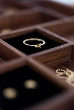 Presentation of the Star of Bethleham ring gold.   Handmade show box and ring. 24K gold plated sterling silver.