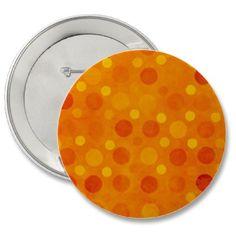 Orange Retro Polka Dots Pinback Buttons by PatternStore