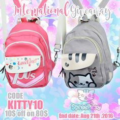"""Here Spree Picky have gift for you .See our Anime Printing Backpack Giveaway!  1. Follow @spreepicky 2. Like and Repin this pic  3. Finish above and enter here: https://goo.gl/kZo99p 4.Ends on Aug 21st, 2016   Use code """"kitty10"""" for 10$ off on 80$, check out some great deals !"""