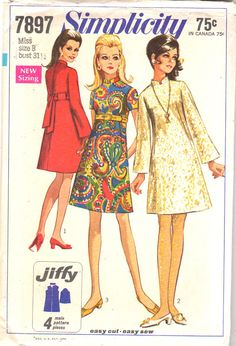 Simplicity 7897, Misses Jiffy Dress: The A Line dress has set in sleeves, back zipper and stand up collar. V1 and 2 have long bell shaped sleeves. V1