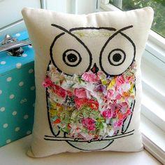 Owl pillow stuffed owl  fabric scrap pillow bird by tracyBdesigns, $18.00