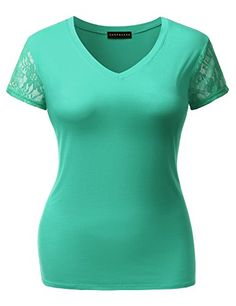 SHOPQUEEN Plus Size Sheer Lace Accent Short Sleeve V-Neck Cotton T-shirt Top MINT 2XL   Special Offer: $13.99      155 Reviews Baisc yet essential v-neck tee featuring lace see-through cap sleeve.Machine Wash Cold / Tumble Dry LowBasic and simple must-have cotton top in slim stretchy...