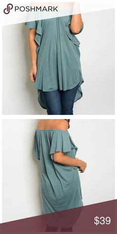 🆕Sage Off Shoulder Tunic Sage off shoulder tunic with high-low hemline. Can be worn on or off shoulders. 100% Rayon & material is lightweight & non-sheer. Can be worn as dress (depending on your height), tunic, or would also look great as a swim cover. It is very versatile & a bit oversized, due to style. Very hot color for Spring! Tops