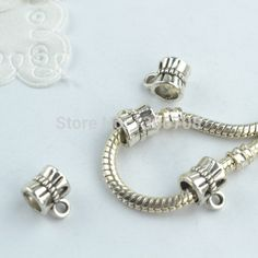 100pcs Metal tibetan silver charms big hole connector beads fit for europe bracelet jewelry making z42702