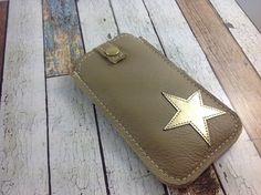 """Handytasche  """"Du bist mein Stern"""" gold von Angie Holste -  Manufaktur ☆ Accessoires aus Leder auf DaWanda.com"""