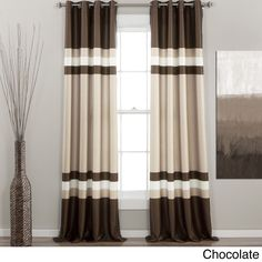 Shop for Lush Decor Alexander Stripe Room Darkening Curtain Panel Pair - x Get free delivery On EVERYTHING* Overstock - Your Online Home Decor Outlet Store! Two Tone Curtains, Color Block Curtains, Cream Curtains, Room Darkening Curtains, Panel Curtains, Black White Curtains, Brown Curtains, Gold Curtains, Curtains Living