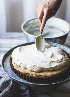 Rum-Kissed Banana Butterscotch Cream Tart in a Cocoa-Buckwheat Crust