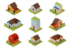 Isometric house vector illustration @creativework247