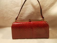 Stunning vintage French 1950's red snakeskin box bag