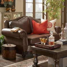 Myles Traditional Chocolate Bonded Leather Rolled Arm Loveseat by TRIBECCA HOME