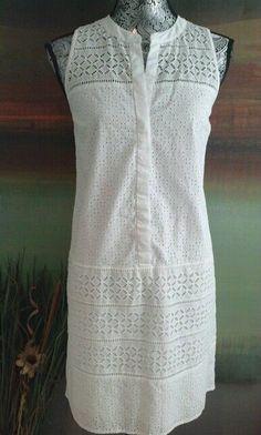 ANN TAYLOR LOFT EYELET KNEE LENGTH WHITE SLEEVELESS SHIFT DRESS BOHO 6 RETRO  #AnnTaylorLOFT #Shift #Casual