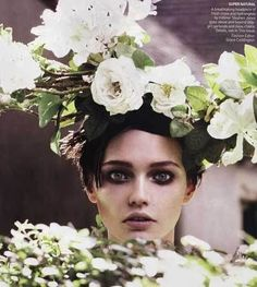 ❀ Flower Maiden Fantasy ❀ beautiful photography of women and flowers - Floral headpiece of fresh white roses and hydrangeas- created by milliner Steven Jones
