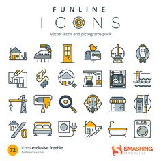 Freebie: Home Appliance And Real Estate Icons (72 Icons, AI, CSH, EPS, SVG, Webfont, Sketch) #HomeAppliancesIllustration