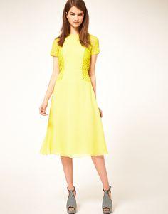 Asos Midi Tea Dress with Pleat Lace Insert - Lyst