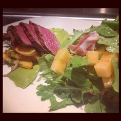 Fallon Hills grass-fed beef, avocado purée, red onion peach salsa, arugula, smoked prosciutto and melon from Tender Greens Walnut Creek