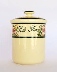 Ceramic salt jar, decorated by hand. #artigianato #madeinitaly #ceramica #ceramic