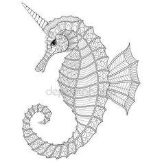 Zentangle stylizované koně Černého moře jako jednorožec. Ručně kreslenou vektorové ilustrace pro dospělé omalovánky, izolované na bílém pozadí. Skica pro tetování nebo makhenda. Moře kolekce