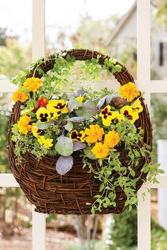 Bring a seasonal splash of color to your entryway by mixing and matching eye-popping blooms with rustic grasses and foliage in your fall container gardens. Hanging Flower Baskets, Hanging Plants, Hanging Gardens, Flower Garden Layouts, Flowers Garden, Flower Gardening, Water Flowers, Summer Flowers, Fresh Flowers