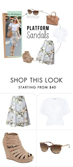 """""""Rachel McAdams Spring Outfit"""" by visiondirect ❤ liked on Polyvore featuring Dorothy Perkins, T By Alexander Wang, Madden Girl, Ralph by Ralph Lauren, Givenchy, celebrity, sunglasses, ralphlauren, CelebrityStyle and floralskirt"""