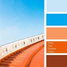 New exterior house paint color combinations orange blue 26 Ideas Orange Paint Colors, Coral Colour Palette, Orange Palette, Orange Color Palettes, Orange Color Combinations, Orange Color Schemes, House Color Palettes, Paint Color Palettes, Exterior Paint Colors For House