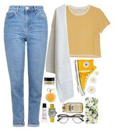 """#466 Y-E-L-L-O-W."" by aria8825 on Polyvore featuring Monki, Topshop, Converse, Kate Spade, Monsoon, MICHAEL Michael Kors, Olivia Pratt and philosophy"
