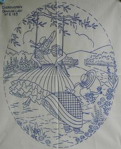 VINTAGE EMBROIDERY TRANSFER - CRINOLINE LADY ON A SWING & GIRL IN GARDEN