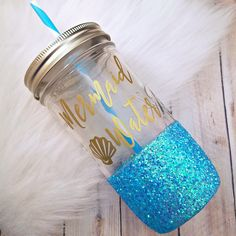 Mermaid Water Glitter Mason Jar - Glitter Cup - Mason Jar Tumbler - Teacher Gift - Unique Gift - Beach Lovers - Mason Jar Cup - Ocean - Sea by LuckyDogAccess on Etsy