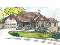 Stone Accents (HWBDO13292) | Country House Plan from BuilderHousePlans.com