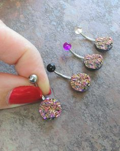Sparkly Pink and Gold Druzy Belly Button Jewelry by MidnightsMojo, $15.00