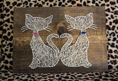 12x16'' Cats and Heart String Art