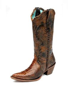 Corral Women's Camel Python Engraved Lace Tube Cowgirl Boot   http://www.countryoutfitter.com/products/31024-womens-camel-python-engraved-lace-tube-c1164