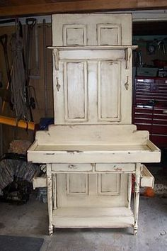 Potting Bench - made from an old door, baby changing table and dresser table.