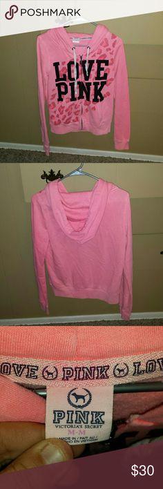 Pink Victoria's secret zip up hooded jacket Pink Victoria's secret zip up hooded jacket. It is in like new condition. Size medium PINK Victoria's Secret Jackets & Coats