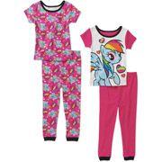 Baby Girls' My Little Pony 4 Piece Cotton Short Sleeve PJ Set