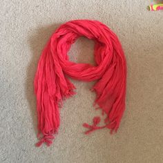 Coral colored fashion scarf This color is gorgeous! Coral scarf with tassel/fringes at the ends. It's in brand new condition - purchased at target, 100% polyester Mossimo Supply Co. Accessories Scarves & Wraps