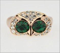 Fashion Owl Rhinestone Lady's Ring: jewelhall.com