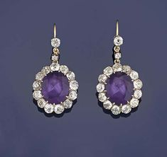 A pair of late Victorian amethyst and diamond pendent earrings Amethyst Jewelry, Amethyst Earrings, Diamond Earrings, Drop Earrings, Victorian Jewelry, Antique Jewelry, Vintage Jewelry, Royal Jewels, Antique Earrings