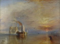 The 98-gun ship 'Temeraire' played a distinguished role in Nelson's victory at the Battle of Trafalgar in 1805. The ship remained in service until 1838 when she was decommissioned and towed from Sheerness to Rotherhithe to be broken up. The painting was thought to represent the decline of Britain's naval power. The 'Temeraire' is shown travelling east, away from the sunset, even though Rotherhithe is west of Sheerness, but Turner's main concern was to evoke a sense of loss, rather than to…