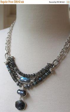ON SALE necklace labradorite necklace grey by soulfuledges on Etsy Bohemian Necklace, Boho Jewelry, Jewelery, Jewelry Necklaces, Jewelry Design, Jewelry Ideas, Bracelets, Agate Necklace, Beaded Necklace