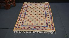 Vintage Straw Mat 4x6 Hassira Mat Moroccan rug Vintage Moroccan Old Moroccan Tuareg Nomad rug with Leather trim