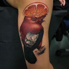 Cock Of The Rock Bird by @timmy_b_413 at @niteowltattoomass in Northampton Massachusetts. #orange #bird #orangehead #cockoftherock #timmyb413 #timmy_b_413 #niteowltattoomass #northampton #massachusetts #tattoo #tattoos #tattoosnob
