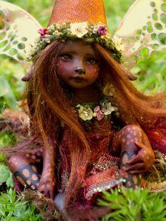 Cutest Miniwinni Fairy Faery Faerie by Celia Anne Harris OOAK art doll pure sculpt Made to Order. $198.00, via Etsy.