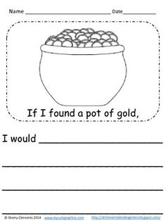 FREEBIE writing … If I found a pot of gold … (kindergarten, grade, grade … – Find Your St Patrick's Day Activities Writing Lessons, Teaching Writing, Student Teaching, Writing Activities, Teaching Ideas, Writing Prompts, Teaching Resources, Writing Worksheets, Writing Practice